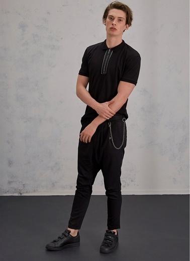 Pi π Metal Fermuarlı Polo Tişört Siyah